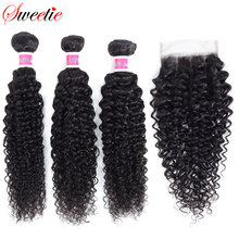 Sweetie Indian Hair Bundles with Closure Afo Kinky Curly Human Hair Weave Bundle 3 Bundles with Lace Closure Non remy