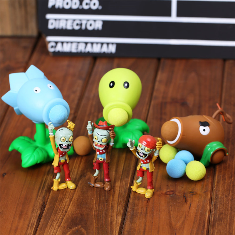 2020 New Plants Vs Zombies Game Action Figure Peashooter PVC Model Toys For Children Parent-Child Interactive Toy Pea Shooter