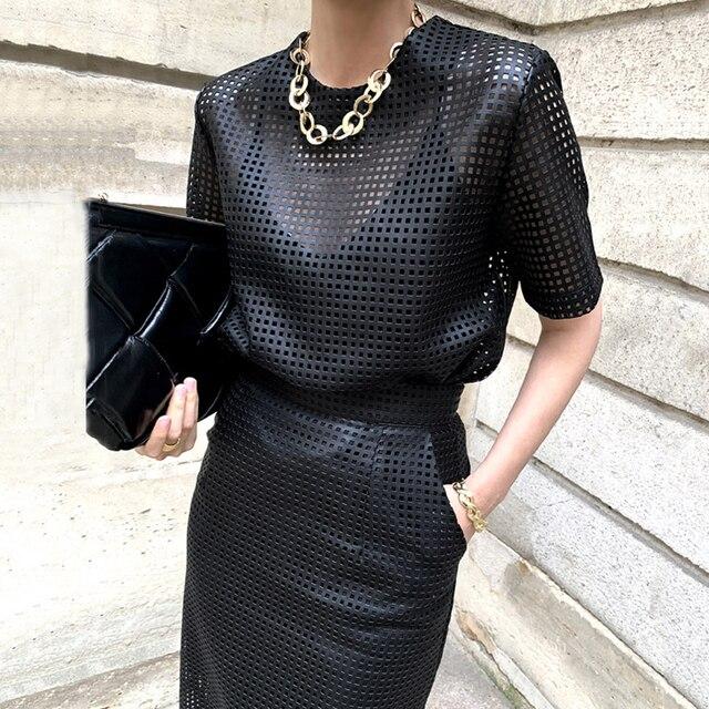 [EWQ]  Women Black Trend O Neck Mesh Hollow Out Leather Short Sleeve Top+High Waist Buttock Skirt Suit Spring Summer  45 2
