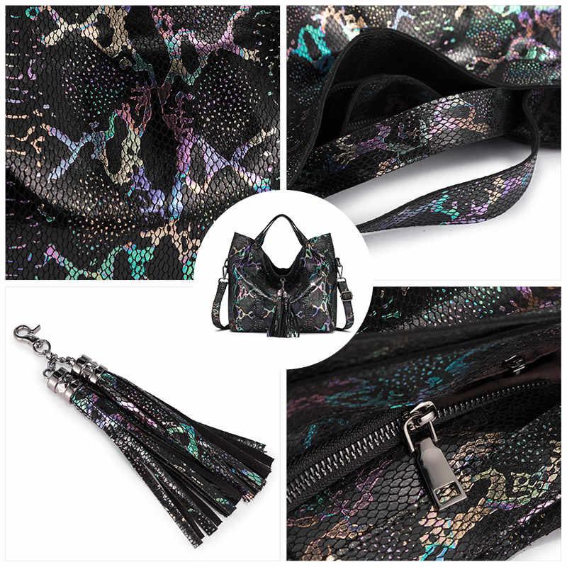 Realer Kulit Asli Wanita Tas Tangan Kapasitas Besar Tote Bag Wanita Colorful Serpentine Cetakan Wanita dengan Rumbai