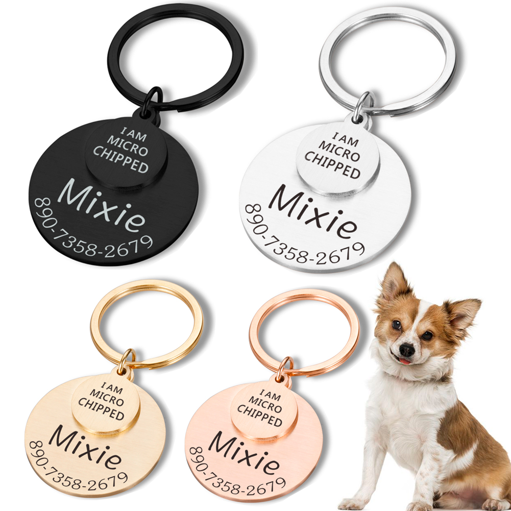 Personalized Pet ID Tag I AM MICRO CHIPPED Anti-lost Engraved Pet ID Name for Cat Puppy Dog Collar Tag Pendant Keyring Pet