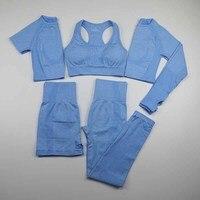 5 Piece Vital Seamless Yoga Set Women Workout Sport Wear Gym Clothing Short/Long Sleeve Crop Top High Waist Leggings Sports Suit