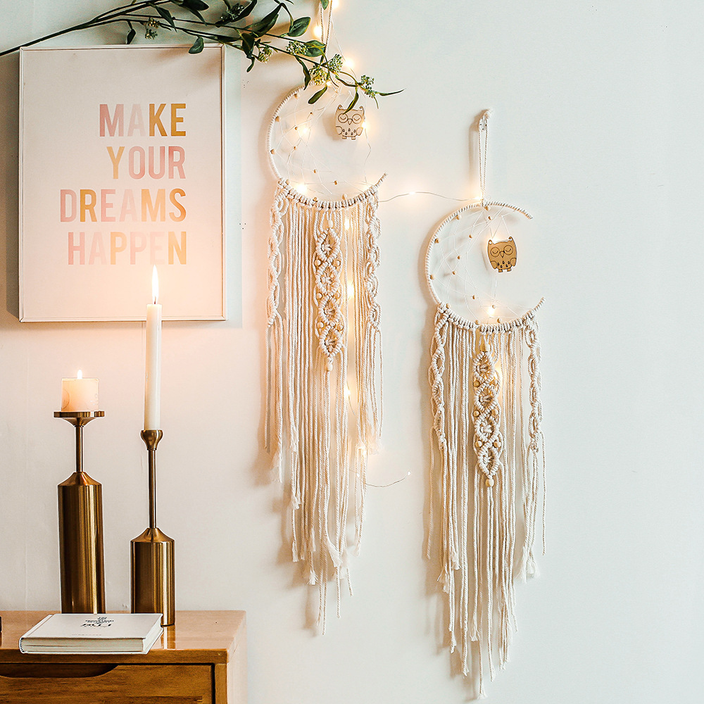Ins Bohemian Moon Dreamcatcher Macrame Cotton Woven Wall Hanging Tapestry Pendant For  Living Bedroom Room Home Decoration
