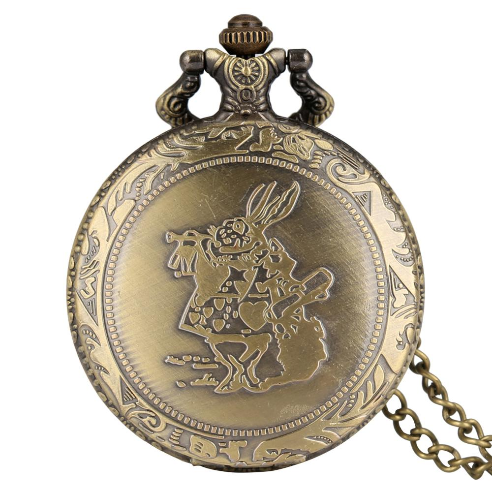 2020 Lovely Alice In Wonderland The Rabbit Design Pocket Watch Women Ladies Girl Fob Watch Dift For Pocket Watch With Necklace