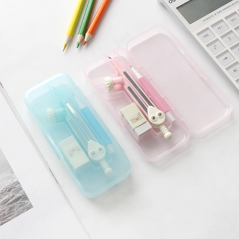 JIANWU Candy Color  Simple  Solid Color Pencil Compasses  Three Sets Of Rulers  Drawing Tools  Learning Stationery