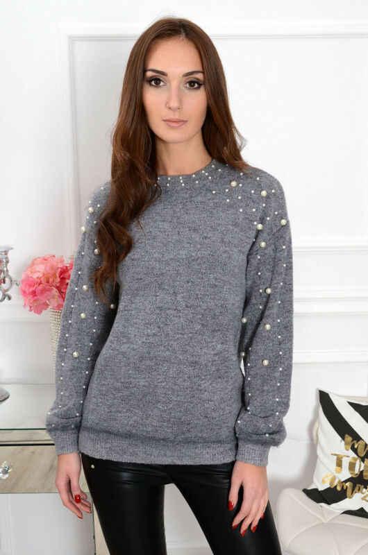 2019 трикотажная женская футболка Женская осенне-зимняя Водолазка с длинным рукавом пуловер Топы жемчужный украшенный серый топ плюс размер