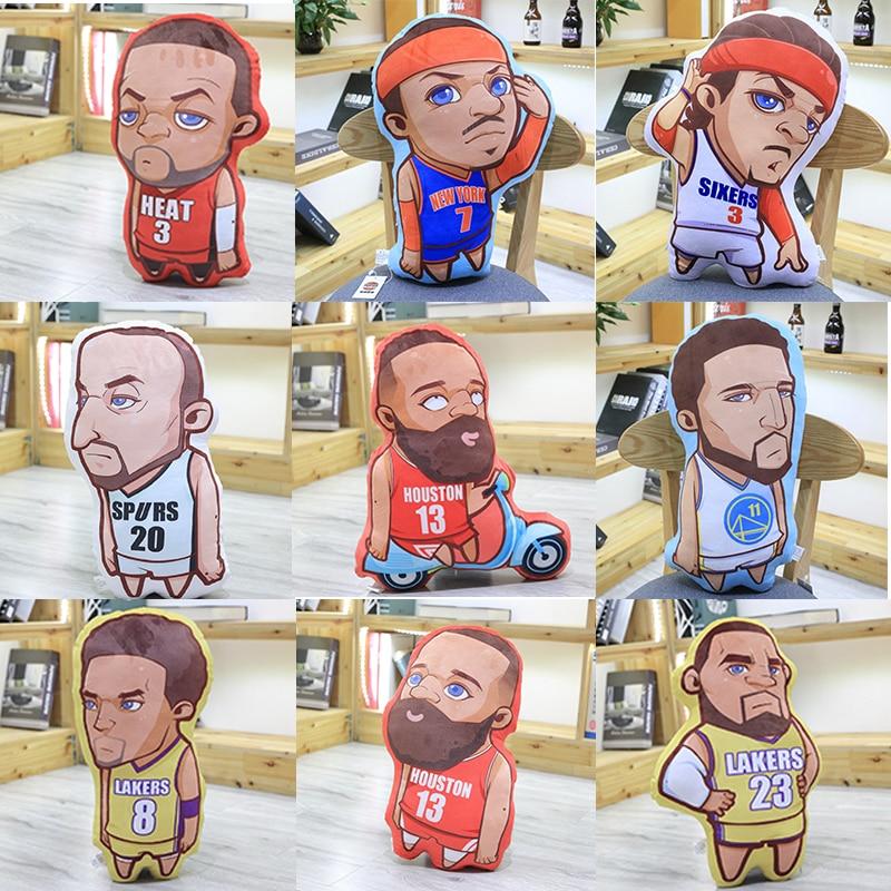 James Curry Kobe Durant Cartoon Plush Pillow Toy Basketball Star Car Pillow Doll Sofa Decoration Stuffed Gift For Boyfriend