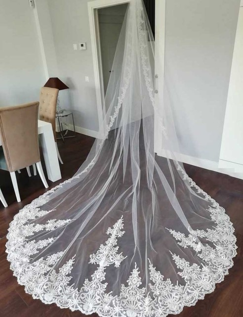 High Quality Neat Lace Long 4 Meters Wedding Veil with Comb 400cm One Layer Bridal Veil Bride Accessories Voile Mariage 1