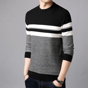 Image 4 - AIRGRACIAS 2019 marka Casual Men swetry z dzianiny w paski męski sweter mężczyźni sukienka grube męskie swetry Jersey odzież jesień nowy