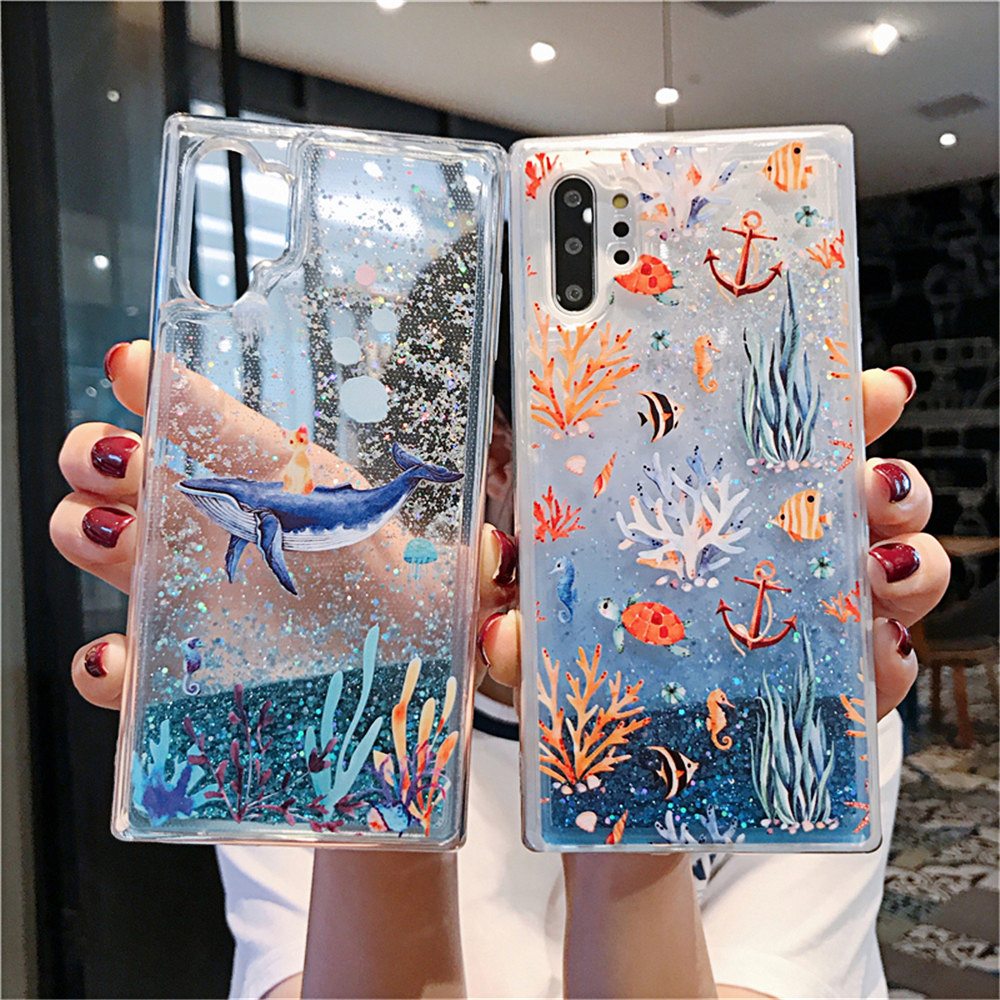Luxury Glittering Phone Case for Samsung S7 Edge S8 S9 S10 Plus S10 Lite Note 8 9 10 Pro M20 M30 Dolphin Cat Coral Fish Cover
