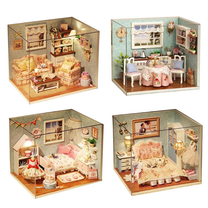 Baby Doll Houses Miniature Dollhouse 3D DIY Doll House Wooden Furniture Kit Dollhouse Miniatures Accessories Baby Birthday Gift