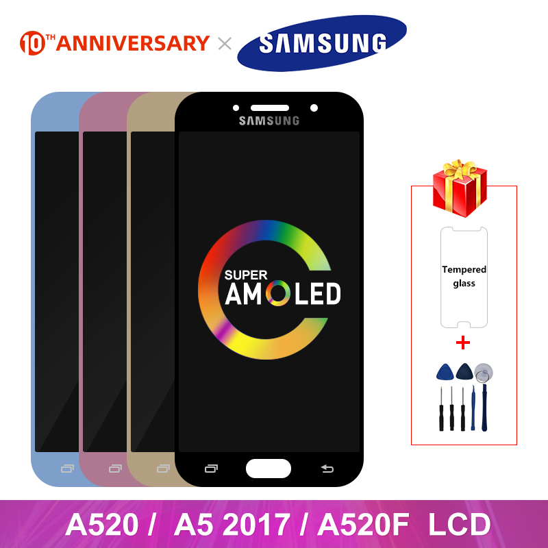 Super AMOLED For Samsung Galaxy A5 2017 A520 LCD Display Touch Screen Digitizer Replacement Parts For A520F SM-A520F Display