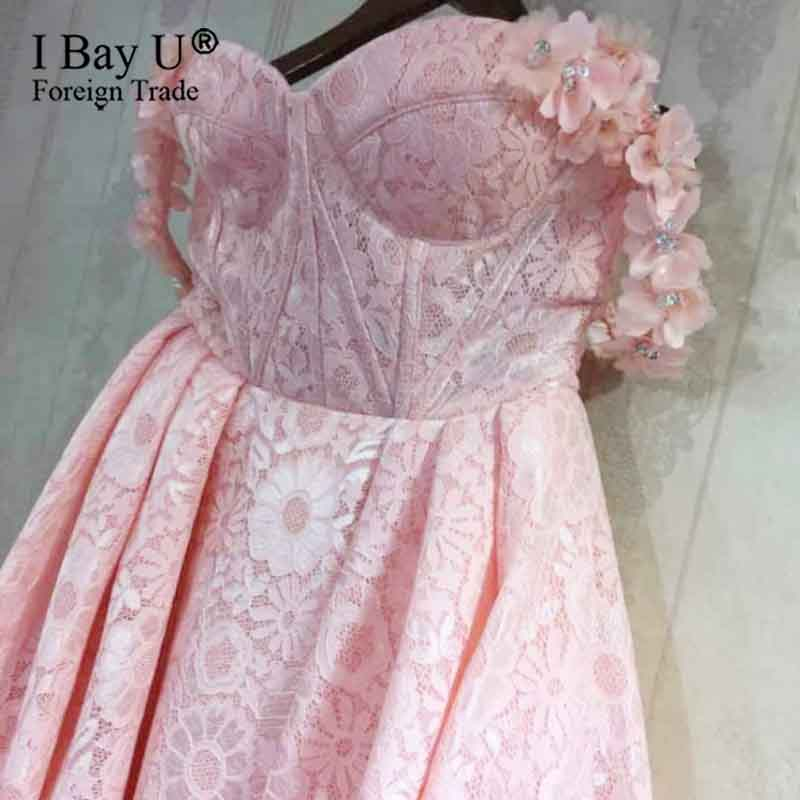 Pink Lace Prom Dresses 2020 A Line Sweetheart Flowers Party Formal Evening Dresses Gowns Vestido Formatura Longo Arabic Dubai