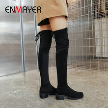 ENMAYER 2019 Stretch Fabric Lace-Up Winter Boots Women Basic Round Toe Thigh High Over The Knee Shoes 34-43
