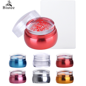 Biutee Clear Jelly Silicone Nail Stamper Scraper Colorful Metal Handle Round Nail Art Stamper For DIY Manicure Stamping Kits