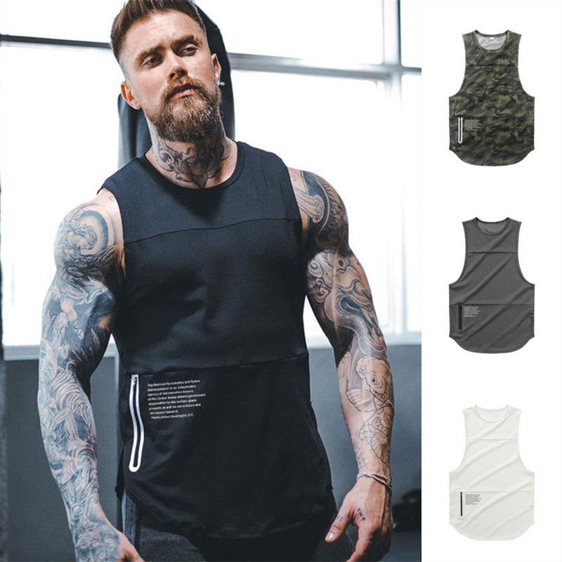 Men Zipper Sleeveless Vest Summer Breathable quick-drying Male Tight Gyms Clothes Bodybuilding Undershirt Fitness   Tank     Tops