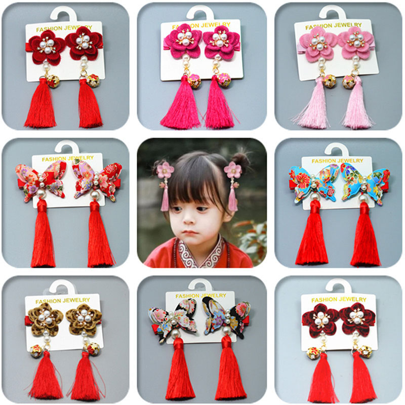 Baby Girls Chinese Style Hairy Furry Flower Tassels Hair Clips Barrettes For Kids Festival Multi-Color