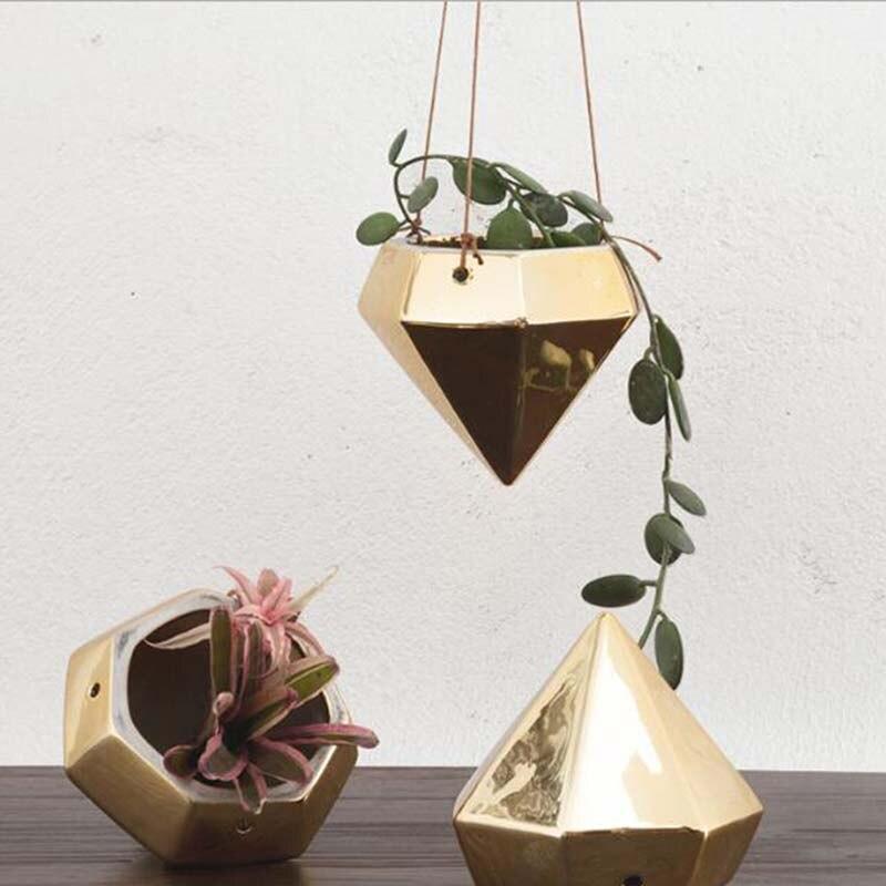 Hot Sale Gold Plated Diamond Shape Hanging Flowerpot Indoor Tabletop Decoration Flower Pots|Flower Pots & Planters| |  - title=