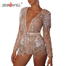 SEBOWEL ยิปซี GOLD/Apricot V-Neck Sequined พู่ผู้หญิง Rompers Playsuits กับ Sashes Night Club Lady SHEER ประกาย Playsuit(China)