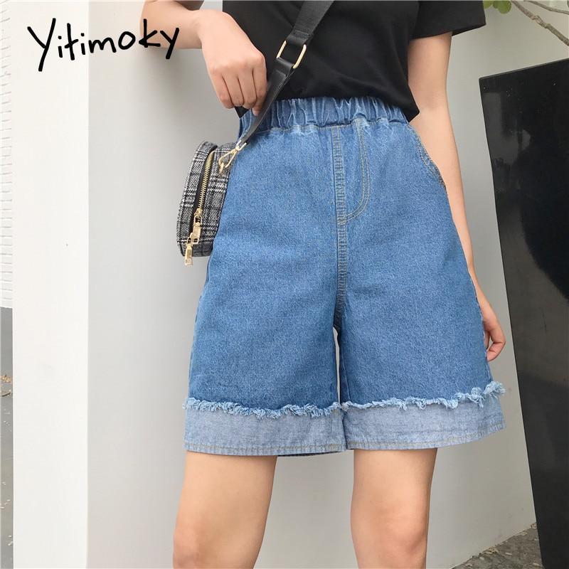 Denim Shorts Women Plus Size 5XL Cuffs Tassel Spliced Jean Shorts Women Summer High Waist Solid Elastic Waist Loose Style 2020