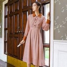 Японский стиль Mori Girl платье в клетку весна осень для женщин с длинным рукавом воротник с лацканами длинные платья в клетку s m l