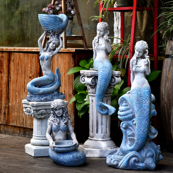 Outdoor Garden Courtyard Mermaid Statue Flower Pots Creative Home Decor Accessories Pool Water Tank Landscaping Wedding Gift