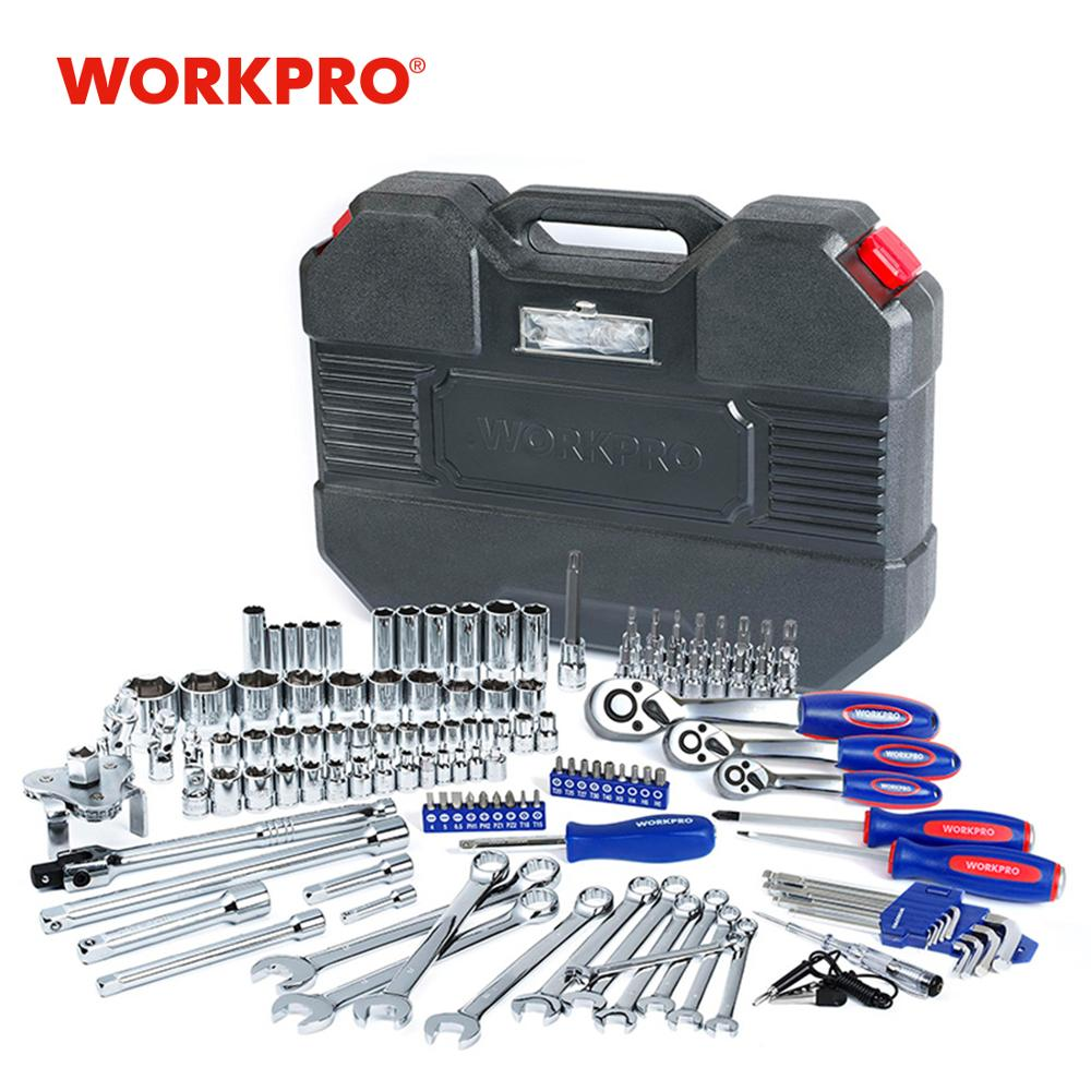 WORKPRO Car Repair Tool Set Mechanic Tool Kits Screwdrivers Ratchet Spanner Wrenches Sockets