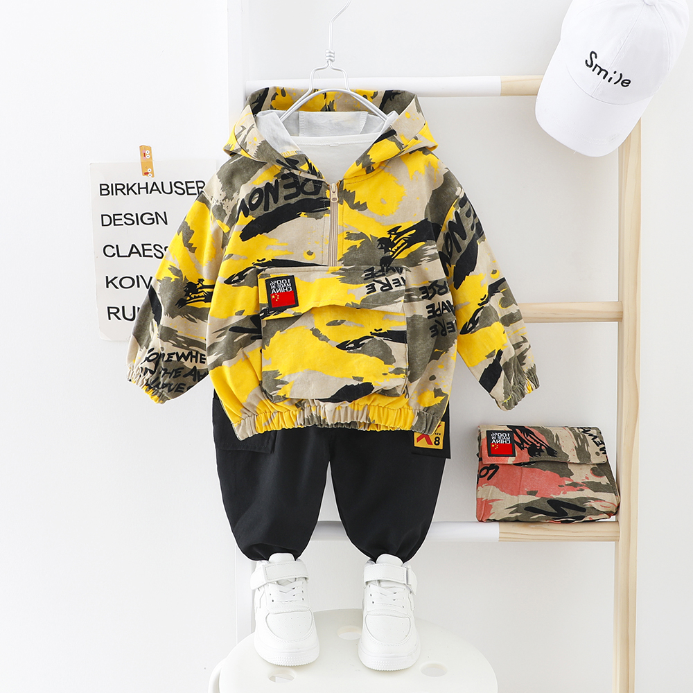 Kids Boy Clothes Camouflage Baby Suit Hooded Camo Top + Pants Sport Children Kids Outwear Baby Gifts for Newborn Boys Green
