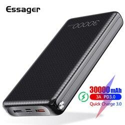 Essager, 30000 мА/ч, зарядное устройство, быстрая зарядка, 3,0 PD, USB C, 30000 мА/ч, зарядное устройство для Xiaomi Mi, iPhone, портативное Внешнее зарядное устройс...