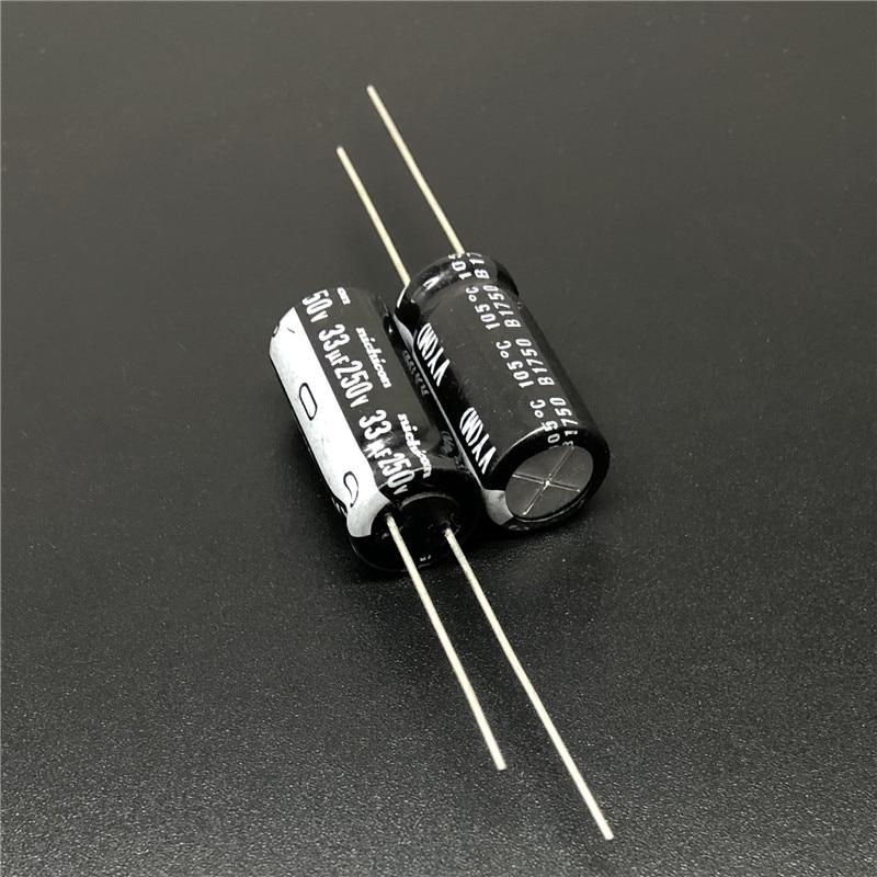 10pcs 33uF 250V NICHICON VY Series 10x20mm Wide Temperature Range 250V33uF Aluminum Electrolytic Capacitor