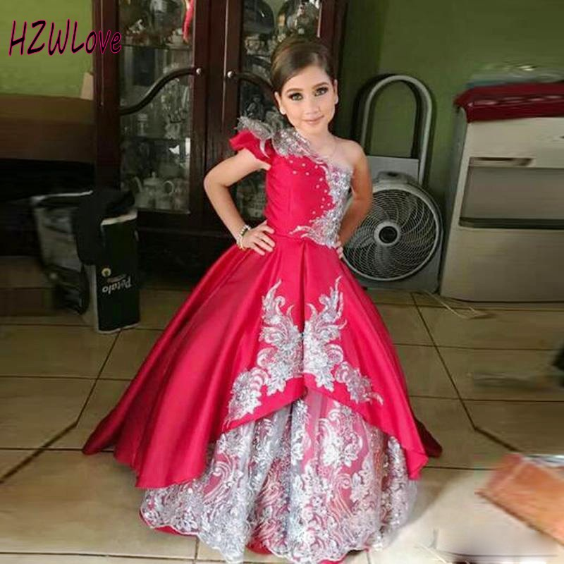 Hot Pink Girls Pageant Dresses One Shoulder Tiered Sequins Lace Appliques Kids Party Gowns Satin Custom Made Flower Girls Dress