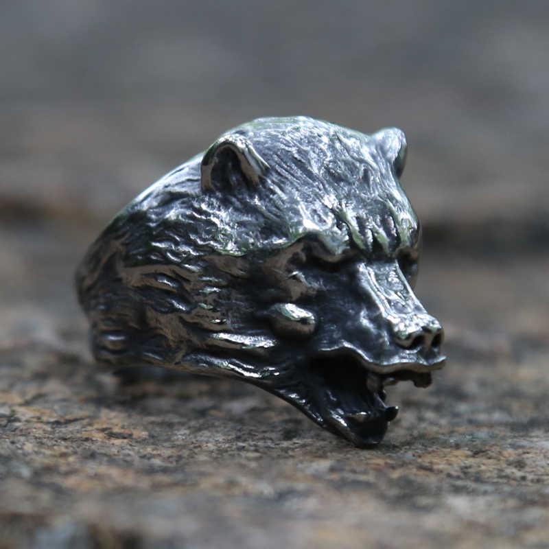 استبداد الفايكنج الدب رئيس خواتم 316L الفولاذ المقاوم للصدأ السلافية الدب Berserk الشرير السائق خواتم الرجال فايكنغ تميمة مجوهرات