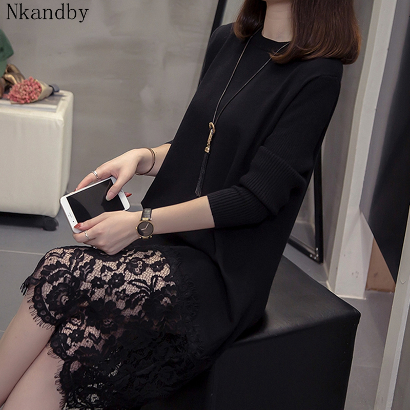 Nkandby Plus Size Lace Patchwork Poullover Knitted Dress 2019 Fall Winter Fashion Long Sleeve Oversized Office Sweater Dresses