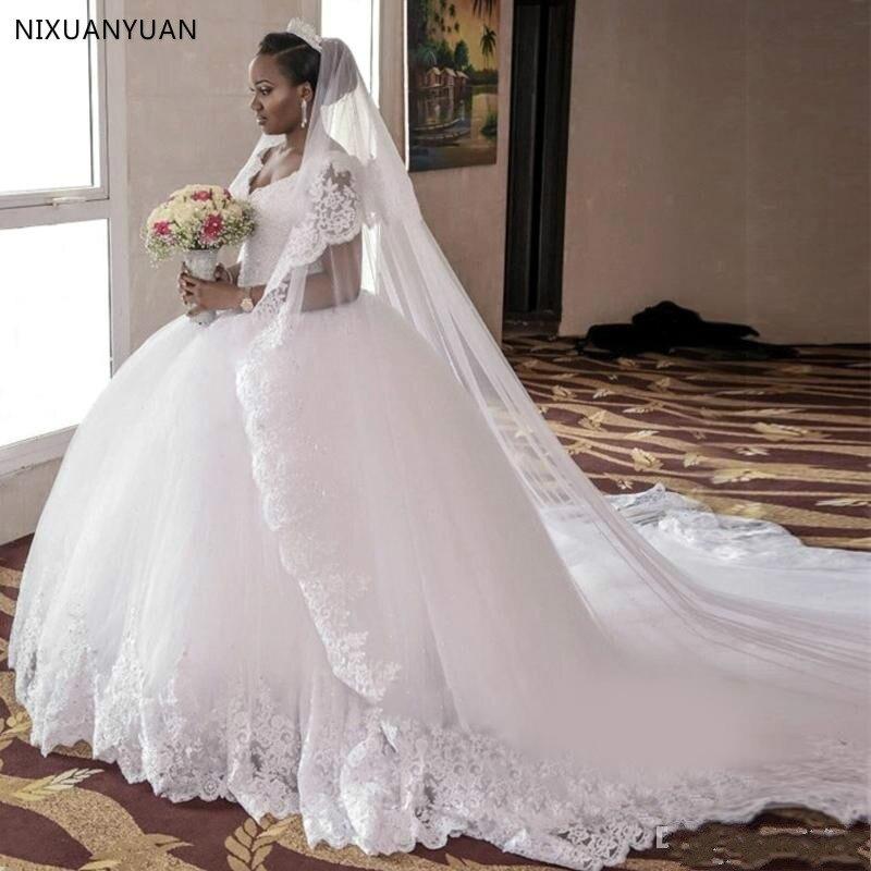 Charming V-Neck Ball Gowns Cathedral/ Royal Train Wedding Dresses Plus Size Bride Bridal Gowns Vestidos De Noiva Casamento