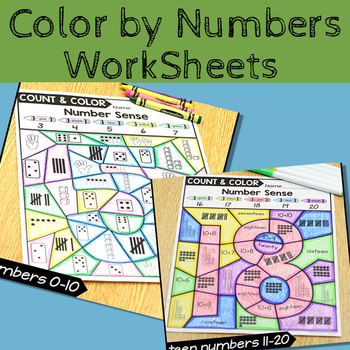 Color By 1-20 Number Sense Activities Homeschool PDF electronic file image