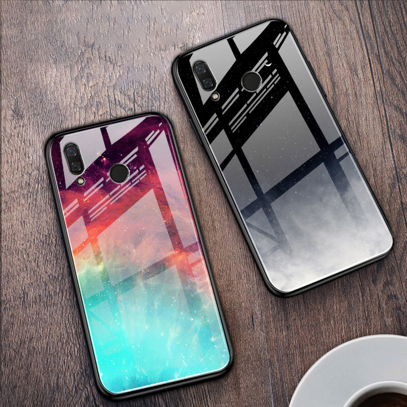 Colorful Glass Phone <font><b>Case</b></font> For <font><b>Huawei</b></font> P Smart Plus Y5 <font><b>2019</b></font> Y6 <font><b>Y7</b></font> Prime Y9 2018 Honor 10 Lite 7A 20 Pro 20S Play 8C <font><b>Cover</b></font> <font><b>Coque</b></font> image