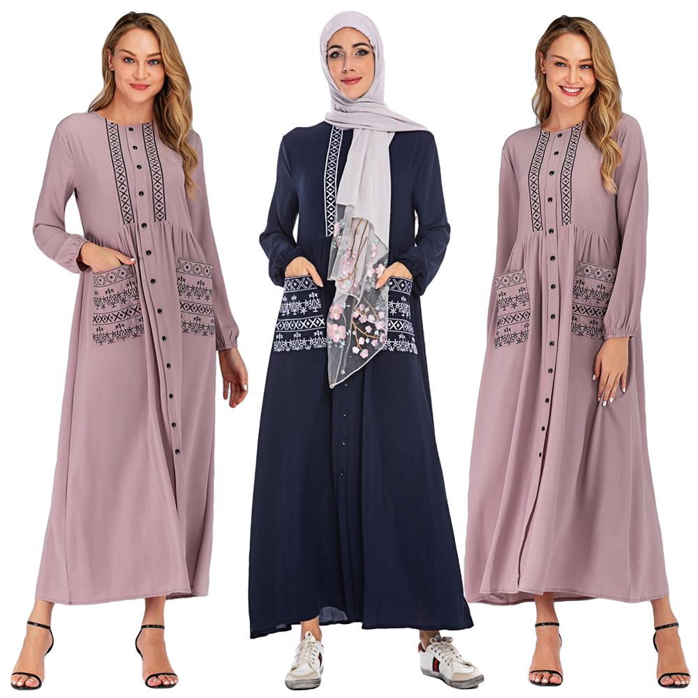 Abaya Jilbab Ethnic Kaftan Long Robe Women Muslim Maxi Dress Islamic Party Gown Arab Clothing Turkish Single-breasted Dress New