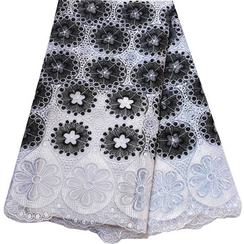 ulifelace Class Design White match Black French Mesh Fabric Embroidery African French Net Lace Fabric For Wedding Dress N2568