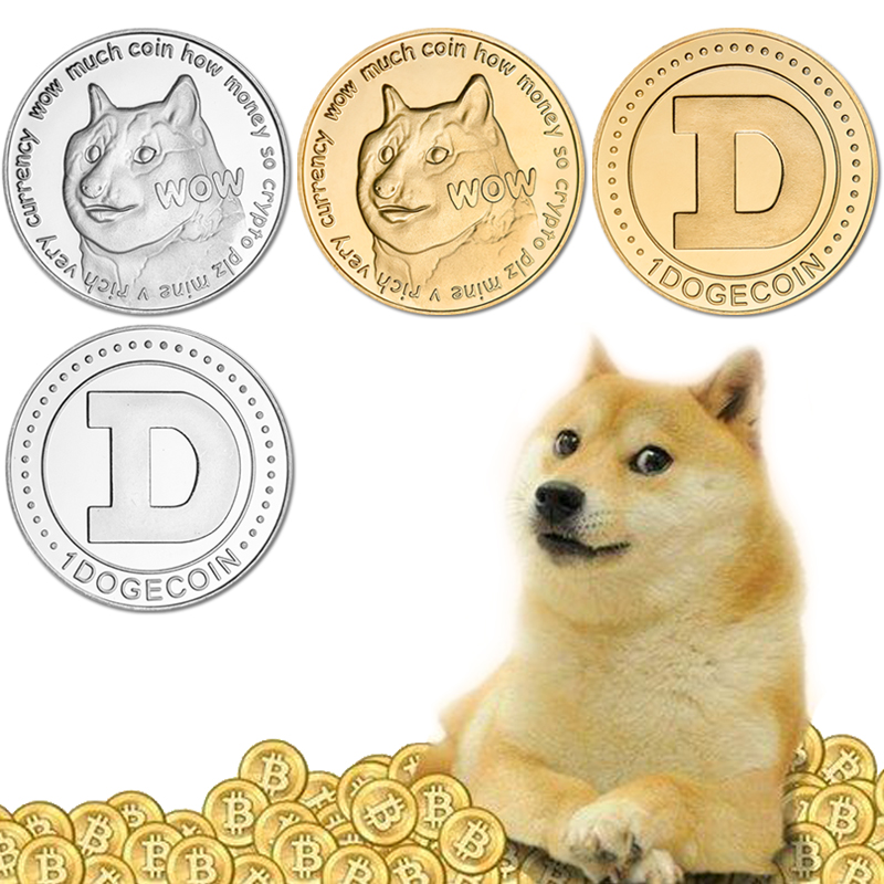 Gold Plated Silver Plated Dogecoin Commemorative Coins Cute Dog Pattern Souvenir Bit Coin Art Collection Creative Gift