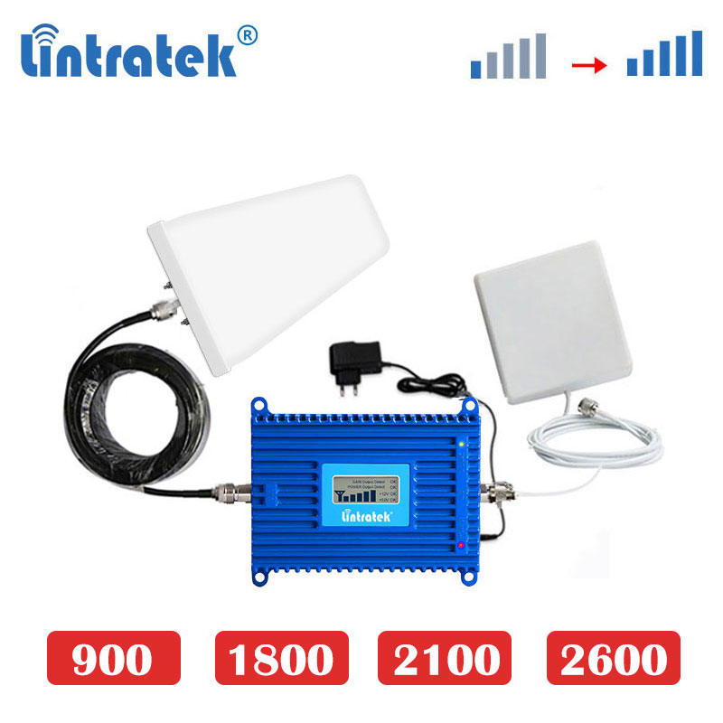 Lintratek 4G LTE 1800MHz 2600mhz 3G 2100mhz GSM 900 2g 70dB Cellphone Signal Booster 4G Internet Cellular Amplifier Repeater Dj