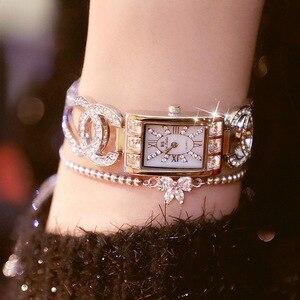 Image 2 - Vrouwen Horloges Dames Quartz Horloge Vierkante Diamanten Luxe Merk Armband Horloge Voor Vrouwen Strass Vrouwelijke Horloge Relogios