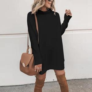 Image 3 - New Turtleneck Solid Knitted Sweaters Dress Women Long Sleeve Slim Streetwear Pullovers Oversized Sweater Pull