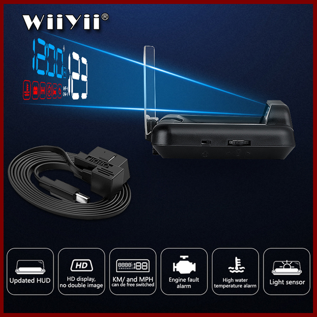 GEYIREN pantalla frontal de coche OBD2 con GPS HUD, proyector de velocidad para parabrisas, alarma de seguridad, temperatura del agua, exceso de velocidad, voltaje de RPM