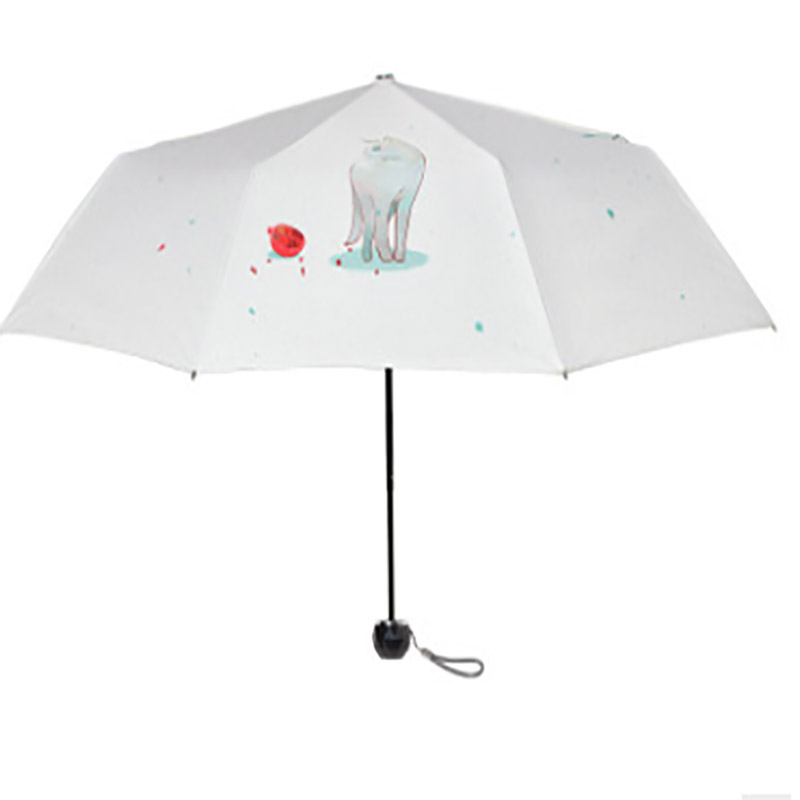 Parapluie clair personnalisé petit parapluie frais trois fois chat parapluie crème solaire créative parasol protection UV