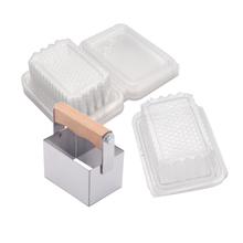 6CM * 9CM ze stali nierdzewnej plaster miodu kwadratowy nóż z 10 sztuk o strukturze plastra miodu kwadratowe pudełko o strukturze plastra miodu i pakiet tanie tanio BT71