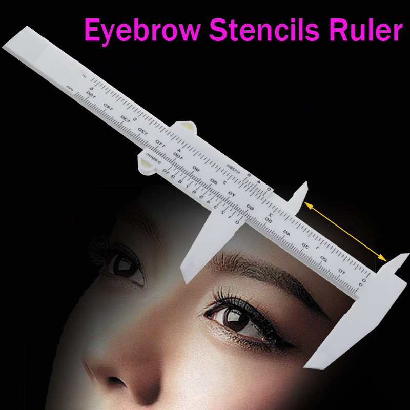 Double Scale Sliding Gauge Eyebrow Ruler Tattoo Permanent Makeup Eyebrow Tattoo Measuring Ruler Caliper Measure Tools 1pcs