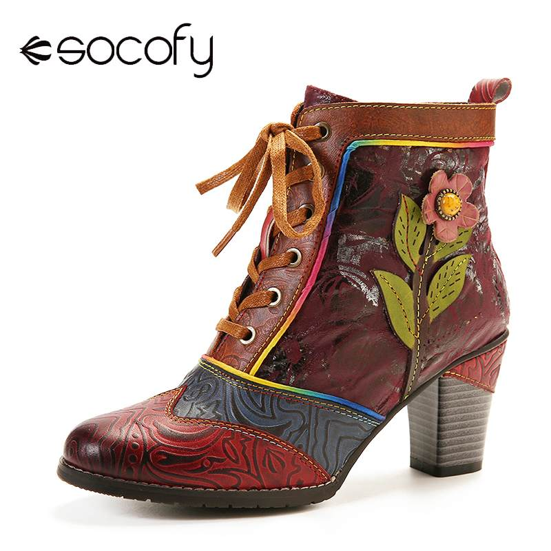 SOCOFY Retro Embossed Genuine Leather Splicing Pink Flower High Heel Ankle Boots Elegant Shoes Women Shoes Botas Mujer 2020