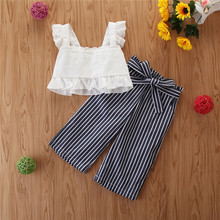Fashion Girls Summer Suit Embroidered White Baby Shirt Striped Personality Wide Leg Pants цена 2017