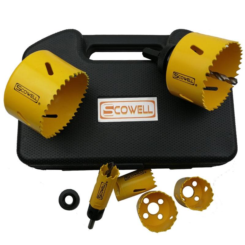 30% de réduction sur 9pcs Hole Saw Drill Bit Kit Mandrin de coupe de tôle en bois Scies 3/4 à 2-1 / 4 pouces Ensemble complet Par foret pour coupe de bois