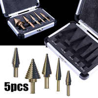 5pcs Titanium Step Drill Bit Tool Set 50 Sizes High Speed Steel Step Cutter Drill Bit Set Tool Hole Cutter Power Tools Accessori